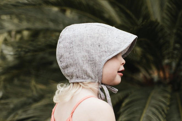 Brimmed Baby Bonnet • Natural Stripe