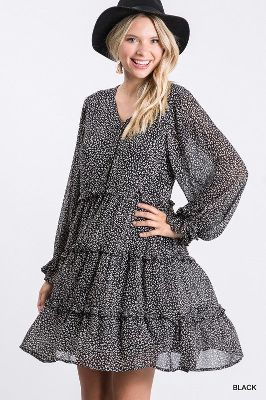 "Now in Plus!  ""Charity"" Tiered Animal Print Dress, 2 colors"