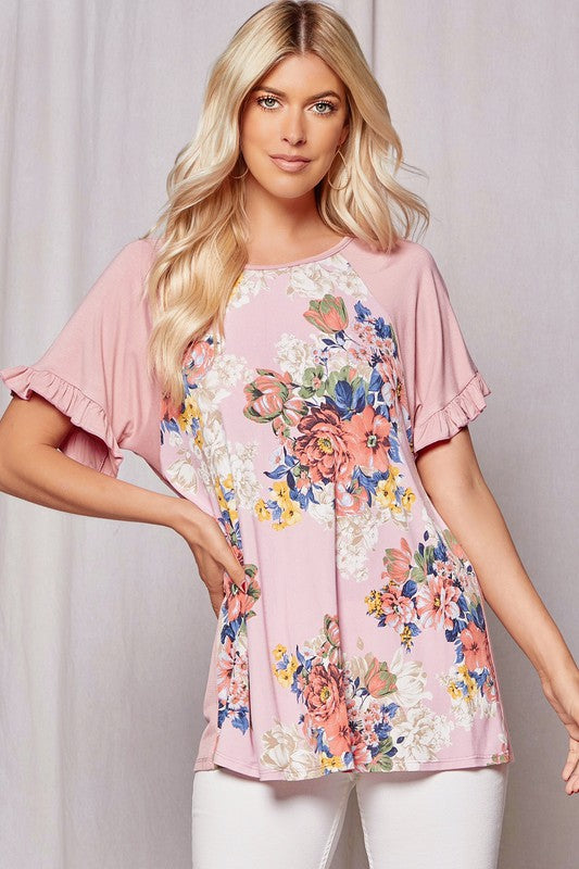 """Kayla"" Ruffled Sleeve Floral Top"