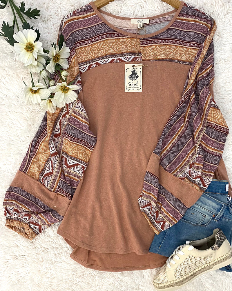 "New Color! ""Emily"" Printed Sleeve Top"
