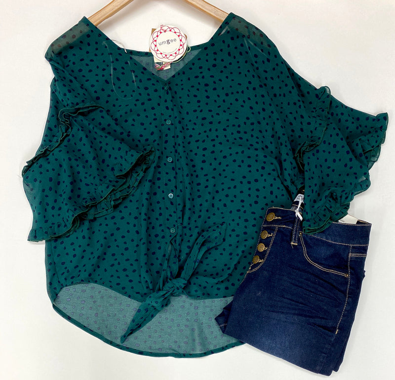"""Wendy"" Ruffled Sleeve Blouse"
