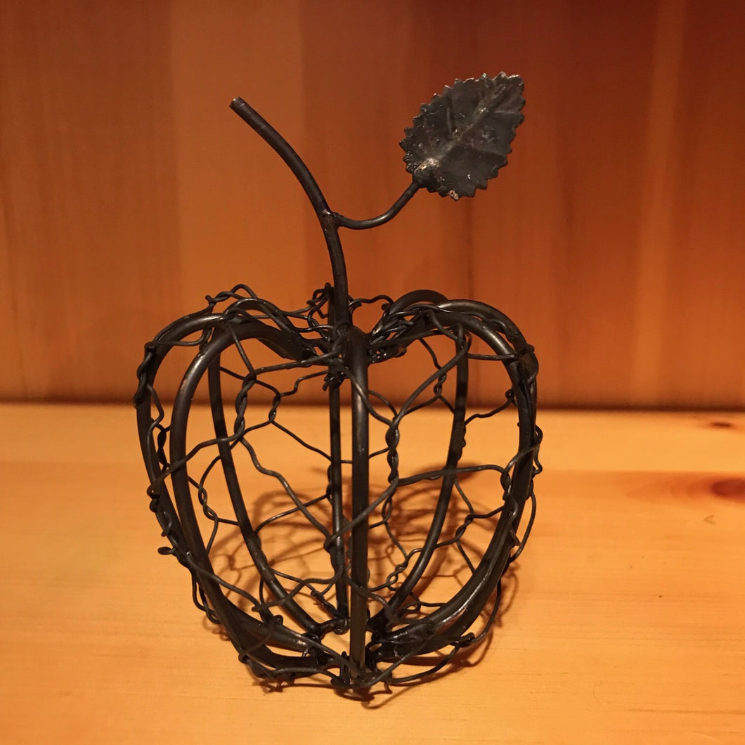 Woven Apple with Leaf Sculpture