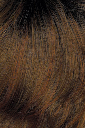 Golden Brown with Light Auburn highlights and Dark Brown roots (12GR)