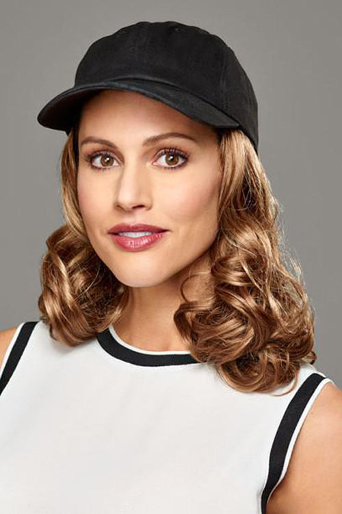 Curly Hat Black by Henry Margu in Dark Strawberry Blonde with Dark Blonde highlights (27AH)