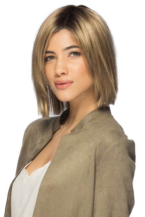 Ellis By Estetica in Light Brown w Chunky Golden Blonde Highlights n Dark Brown Roots (RH12/26RT4)