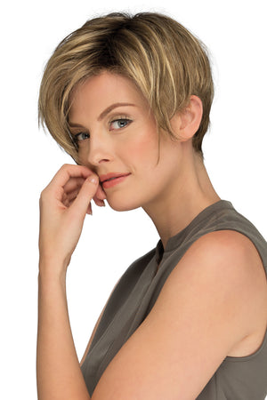 Perry By Estetica in Light Brown w Chunky Golden Blonde Highlights and Dark Brown Roots (RH12/26RT4)
