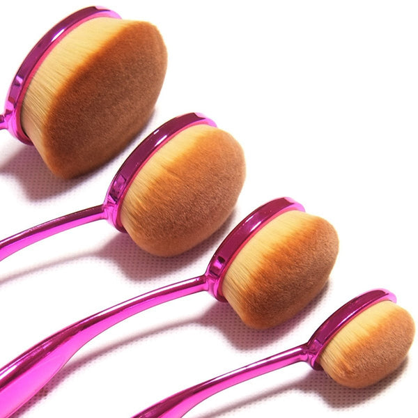 New ZOË 10 Pcs Oval Makeup Brushes Tooth-Shape Foundation Powder Brush Oval - ZOË Products Int'l. - 5