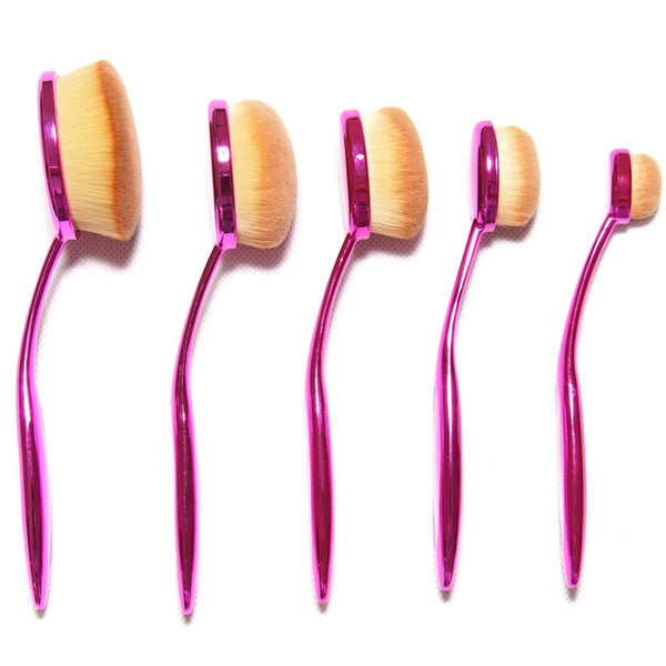 New ZOË 10 Pcs Oval Makeup Brushes Tooth-Shape Foundation Powder Brush Oval - ZOË Products Int'l. - 3