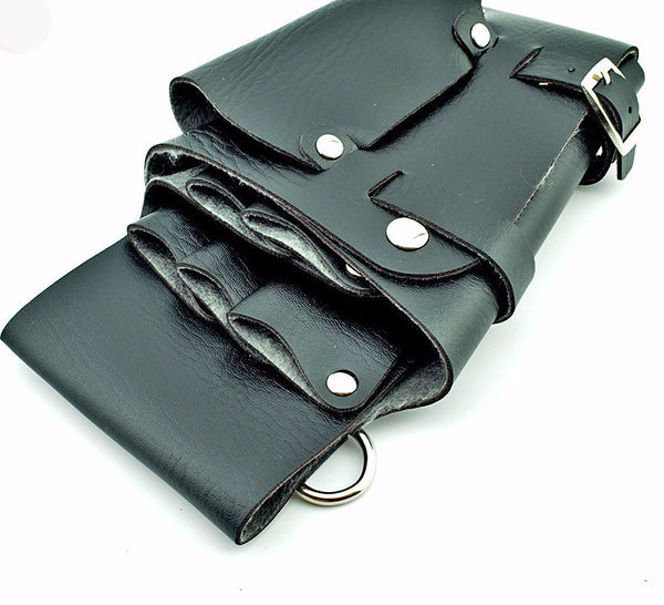 New! Leather Hair Styling Tools Case for Stylists/Barbers /Scissor bag/ holster pouch case with waist shoulder belt - ZOË Products Int'l. - 1