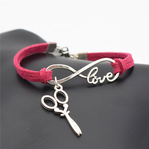2016 Stylish Christmas Gift Unique Barber Scissors Pendant Love Infinity Charm Leather Bracelet for Women Scissors Wrist Jewelry - ZOË Products Int'l. - 2