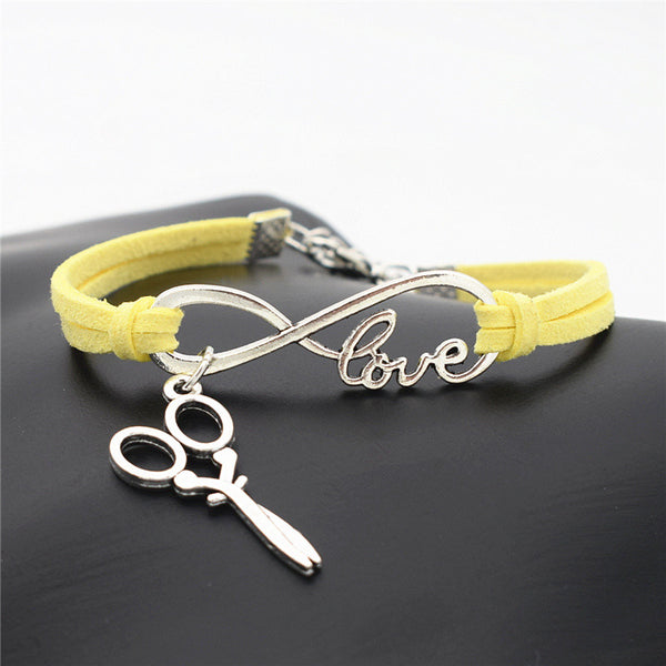 2016 Stylish Christmas Gift Unique Barber Scissors Pendant Love Infinity Charm Leather Bracelet for Women Scissors Wrist Jewelry - ZOË Products Int'l. - 6