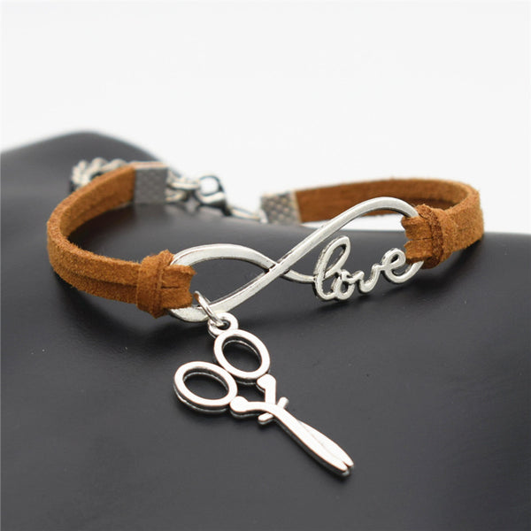 2016 Stylish Christmas Gift Unique Barber Scissors Pendant Love Infinity Charm Leather Bracelet for Women Scissors Wrist Jewelry - ZOË Products Int'l. - 1