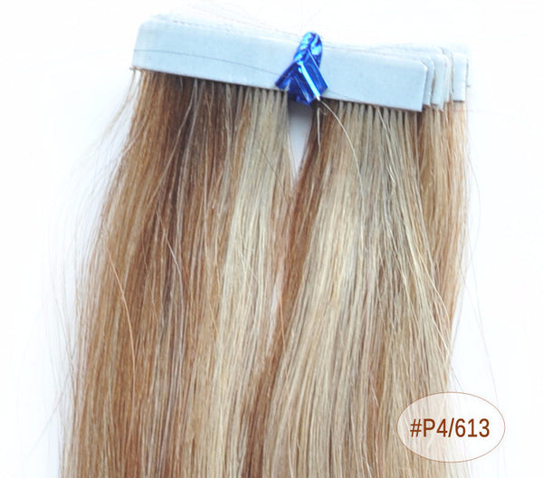 "ZOË 10pcs 25g 18""/24"" 100% Classy Remy Indian Human Hair Skin Weft Hair Extensions Double-Sided Tape Blue Liner Seamless Invisible - ZOË Products Int'l. - 12"