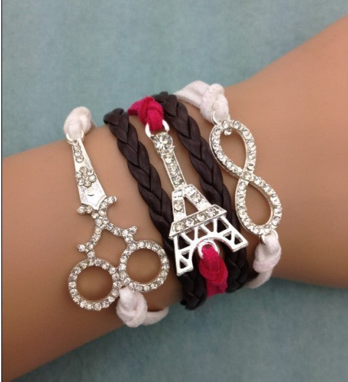 Are You Gonna Really Pass This Up?? 3pcs infinity bracelet, anchor bracelet,scissors bracelet,Eiffel Tower leather bracelet - ZOË Products Int'l.