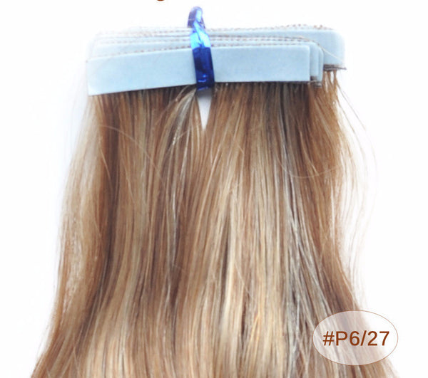 "ZOË 10pcs 25g 18""/24"" 100% Classy Remy Indian Human Hair Skin Weft Hair Extensions Double-Sided Tape Blue Liner Seamless Invisible - ZOË Products Int'l. - 9"