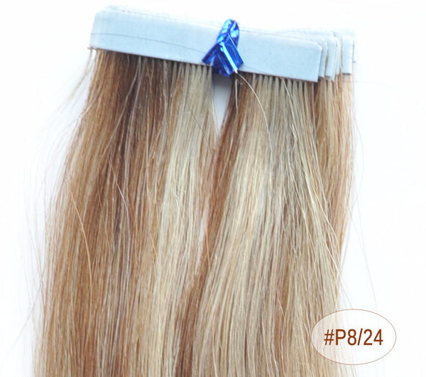 "ZOË 10pcs 25g 18""/24"" 100% Classy Remy Indian Human Hair Skin Weft Hair Extensions Double-Sided Tape Blue Liner Seamless Invisible - ZOË Products Int'l. - 10"