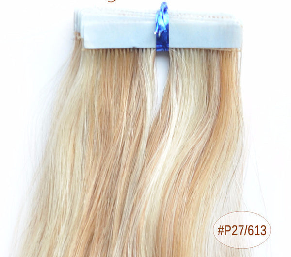 "ZOË 10pcs 25g 18""/24"" 100% Classy Remy Indian Human Hair Skin Weft Hair Extensions Double-Sided Tape Blue Liner Seamless Invisible - ZOË Products Int'l. - 11"