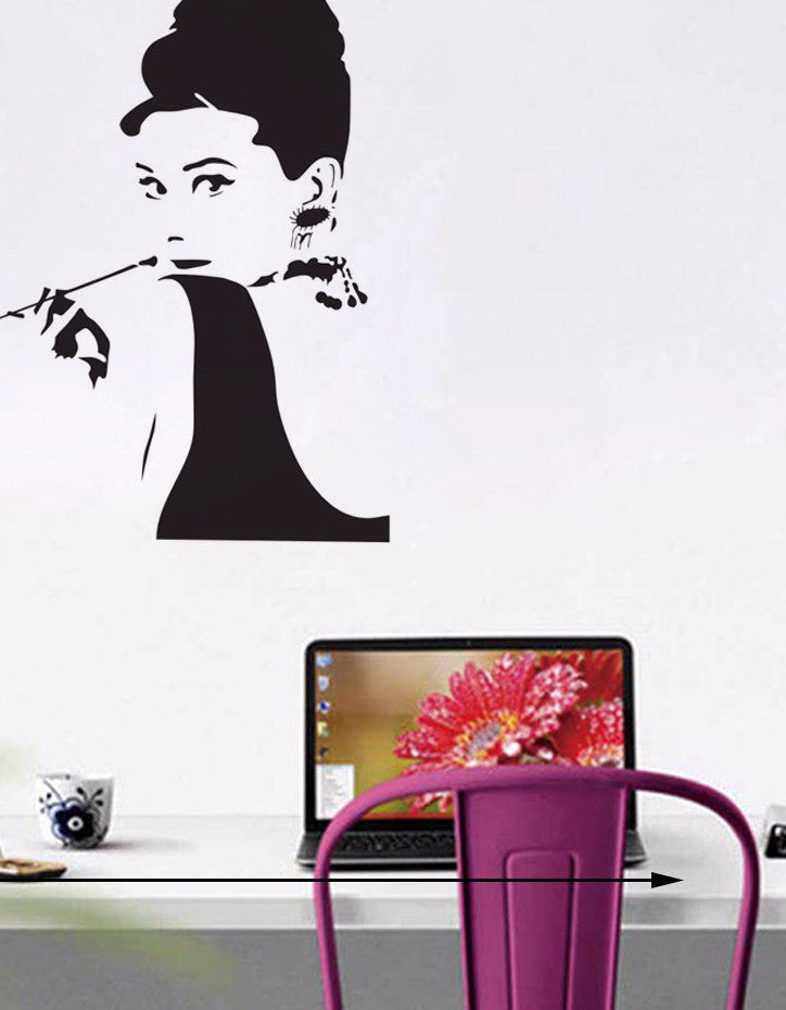 Audrey Hepburn Wall Decoration Stickers Home Decoration Smoking Girl Wall  Decals Part 40
