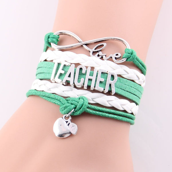 Best Gift Ever! Infinity Love Teacher Bracelet w Apple Charm Rope Leather Wrap Handmade Bracelet - ZOË Products Int'l. - 3