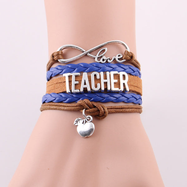 Best Gift Ever! Infinity Love Teacher Bracelet w Apple Charm Rope Leather Wrap Handmade Bracelet - ZOË Products Int'l. - 2
