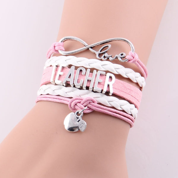 Best Gift Ever! Infinity Love Teacher Bracelet w Apple Charm Rope Leather Wrap Handmade Bracelet - ZOË Products Int'l. - 1