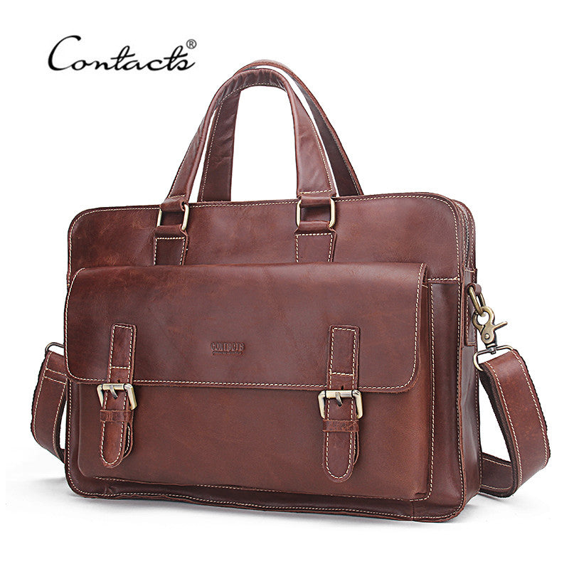 New! Genuine Leather Men Bags Genuine Cow Leather Male Bag Men's Briefcase Laptop Shoulder or Messenger Handbags - ZOË Products Int'l. - 1
