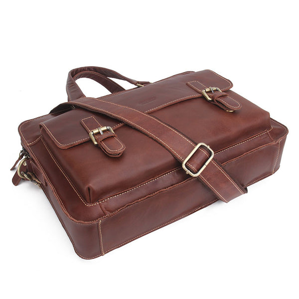 New! Genuine Leather Men Bags Genuine Cow Leather Male Bag Men's Briefcase Laptop Shoulder or Messenger Handbags - ZOË Products Int'l. - 5