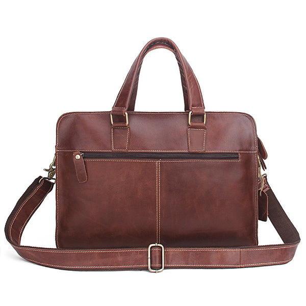 New! Genuine Leather Men Bags Genuine Cow Leather Male Bag Men's Briefcase Laptop Shoulder or Messenger Handbags - ZOË Products Int'l. - 3