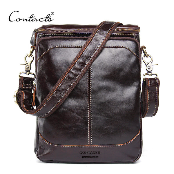 New! HOT!! 2016 High Quality Genuine Leather Bags for Men/ Messenger Bag Small Travel Dark Brown Crossbody Shoulder Bag For Men - ZOË Products Int'l. - 1