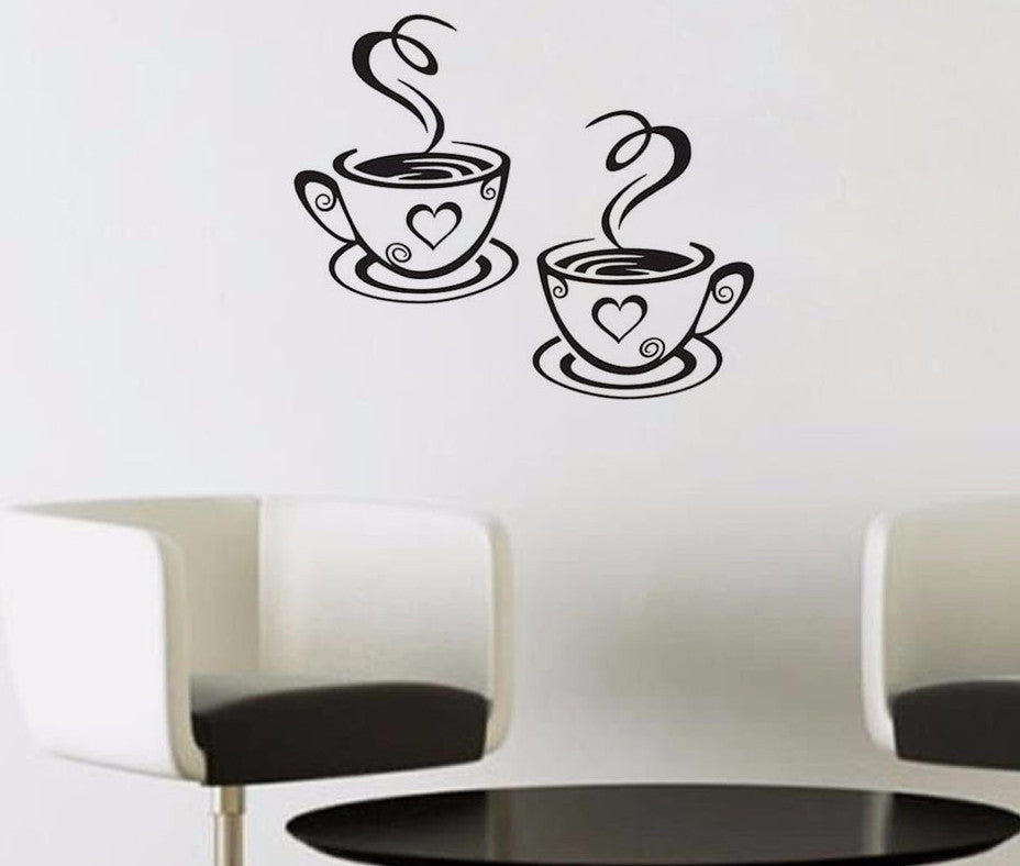 Double coffee cups wall stickers room decoration vinyl art wall decals adhesive stickers
