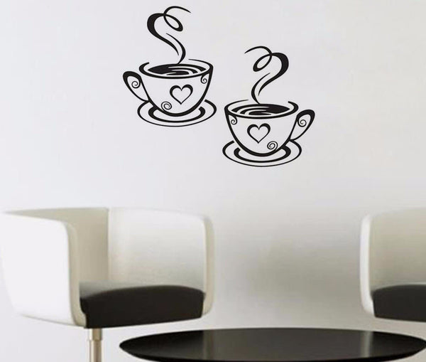 Cute New! Double Coffee Cups Wall Stickers Room Decoration Vinyl Art Wall Decals Adhesive Stickers For Kitchen or Break Room - ZOË Products Int'l. - 1