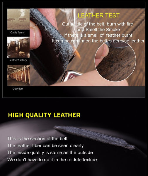 Men's 100% Quality Cowskin Genuine Luxury Leather Men's Belts for Men,Strap Male Metal Automatic Buckle