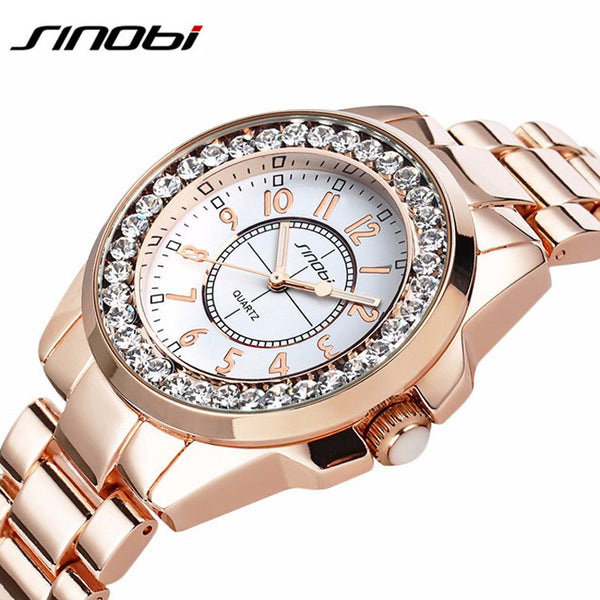 New! Watches Women Ladies Crystal Diamond Qaurtz-watch Luxury Rose Gold Wrist Watches For Women Relojes Mujer - ZOË Products Int'l. - 1