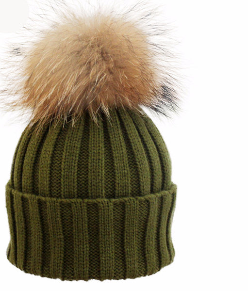 New Design! Real Raccoon Fur Pom Poms Beanie Hat Warm Winter Wool Knitted Bobble Hats for Men or Women - ZOË Products Int'l. - 1