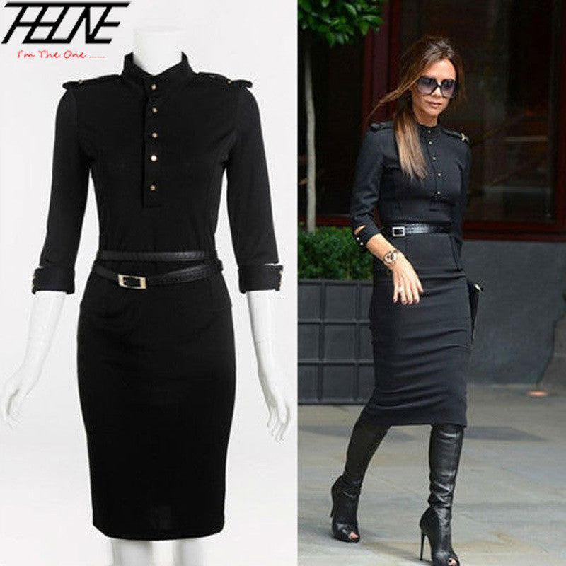 New Stand Up Collar 34 Sleeve Slim Fit Belted Pencil Dress Sashes