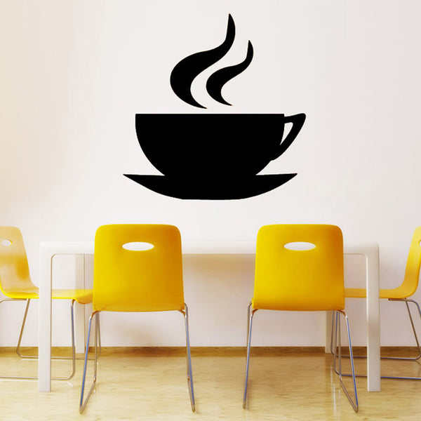Adorable! Self Adhesive Printed Coffee Cup Wall Decoration  Sticker Lounge Home Decoration DIY Removable Vinyl Wall Decal For Coffee House, Salon or Home - ZOË Products Int'l. - 1