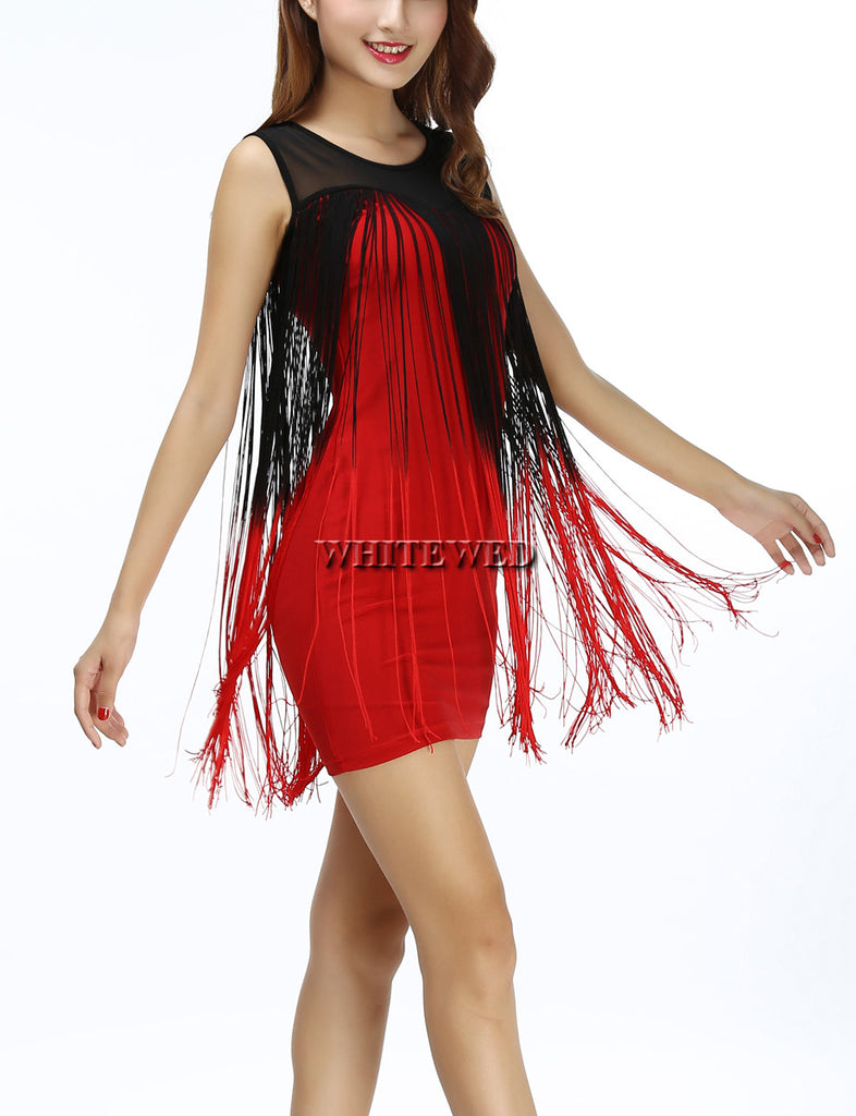 Two Tone Gradient Color Illusion Tassel Embellished Tank Western Flapper  Dress - ZOË Products ... 84f64de141f0