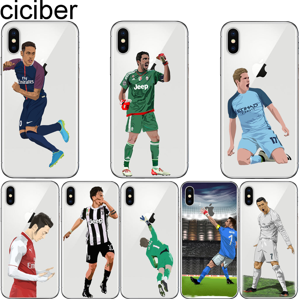low priced dec11 3dc8a ciciber Sports Soccer Football Pattern Print Design Soft Silicone Phone  Cases Cover for Iphone 7 6 6S 8 Plus 5S SE X Capinha