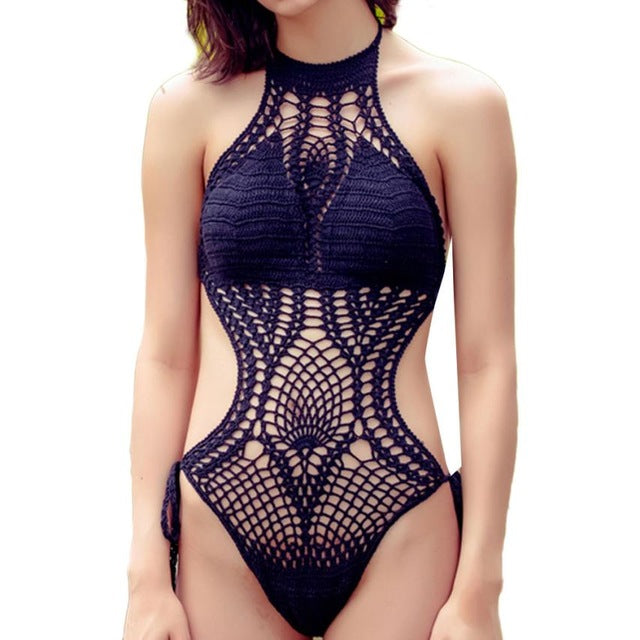 2018 Women's One Piece Swimsuit Sexy Halter Hollow Out Handmade Swimwear/ Monokini