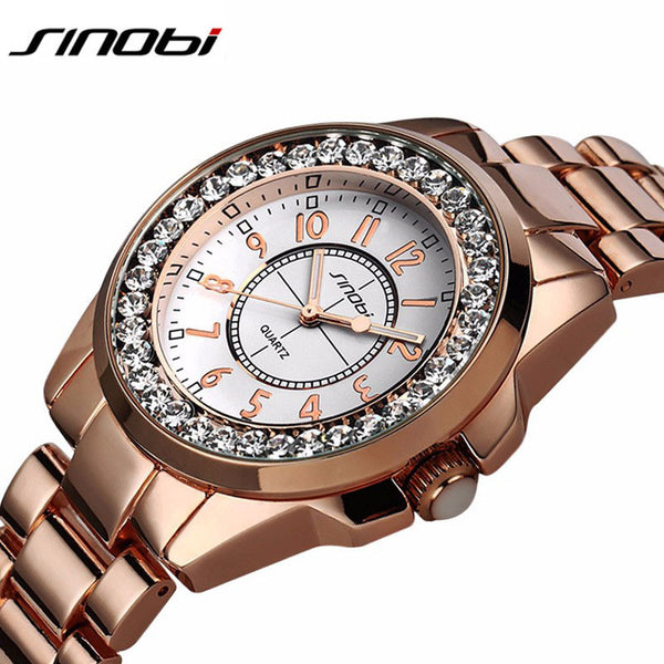 New! Watches Women Ladies Crystal Diamond Qaurtz-watch Luxury Rose Gold Wrist Watches For Women Relojes Mujer - ZOË Products Int'l. - 8
