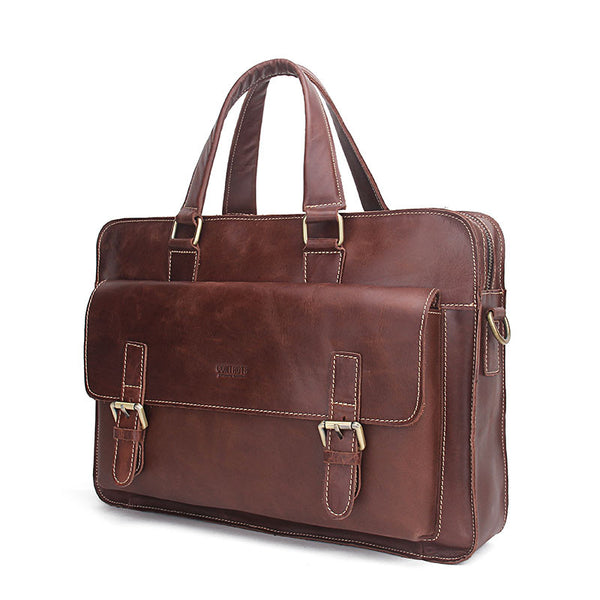 New! Genuine Leather Men Bags Genuine Cow Leather Male Bag Men's Briefcase Laptop Shoulder or Messenger Handbags - ZOË Products Int'l. - 7