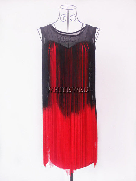 Two Tone Gradient Color Illusion Tassel Embellished Tank Western Flapper  Dress - ZOË Products b7824db75a19