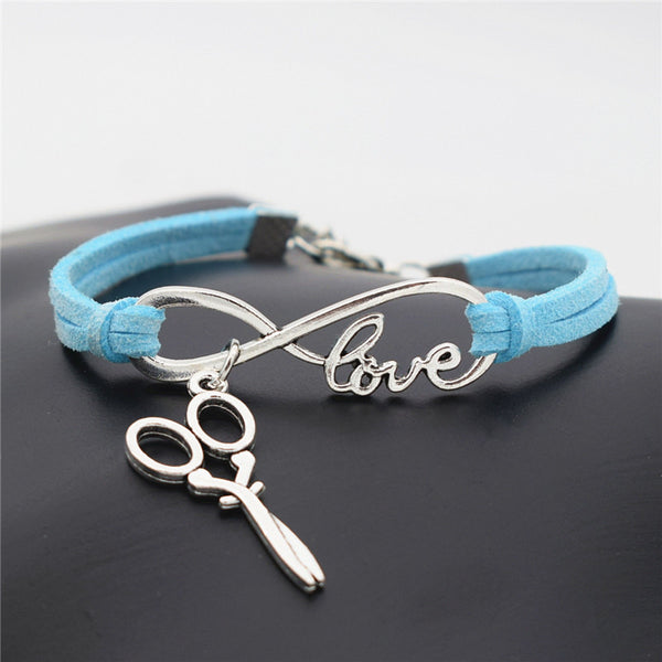 2016 Stylish Christmas Gift Unique Barber Scissors Pendant Love Infinity Charm Leather Bracelet for Women Scissors Wrist Jewelry - ZOË Products Int'l. - 11