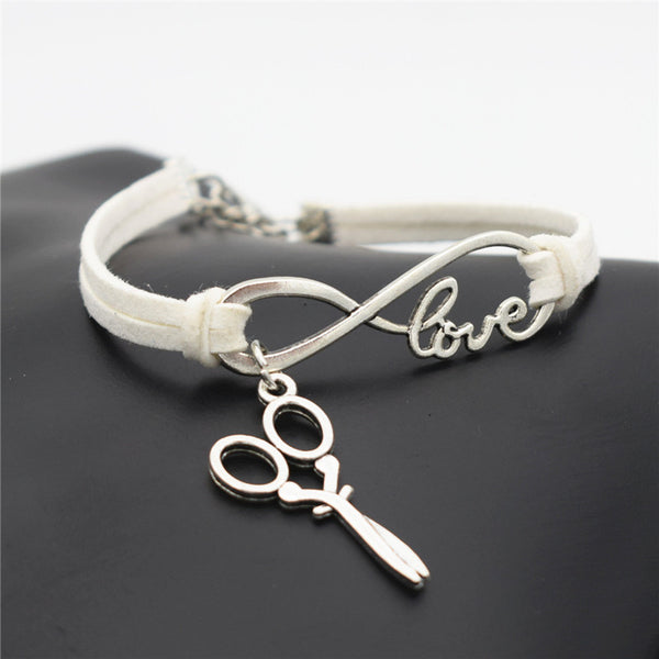 2016 Stylish Christmas Gift Unique Barber Scissors Pendant Love Infinity Charm Leather Bracelet for Women Scissors Wrist Jewelry - ZOË Products Int'l. - 12