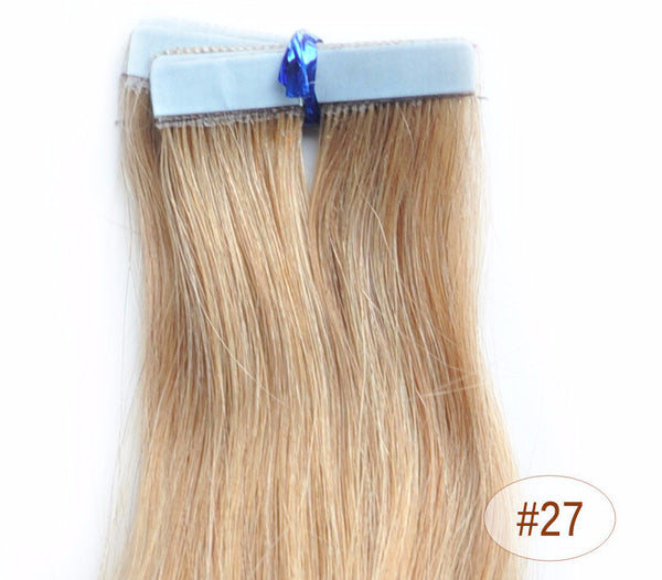 "ZOË 10pcs 25g 18""/24"" 100% Classy Remy Indian Human Hair Skin Weft Hair Extensions Double-Sided Tape Blue Liner Seamless Invisible - ZOË Products Int'l. - 8"