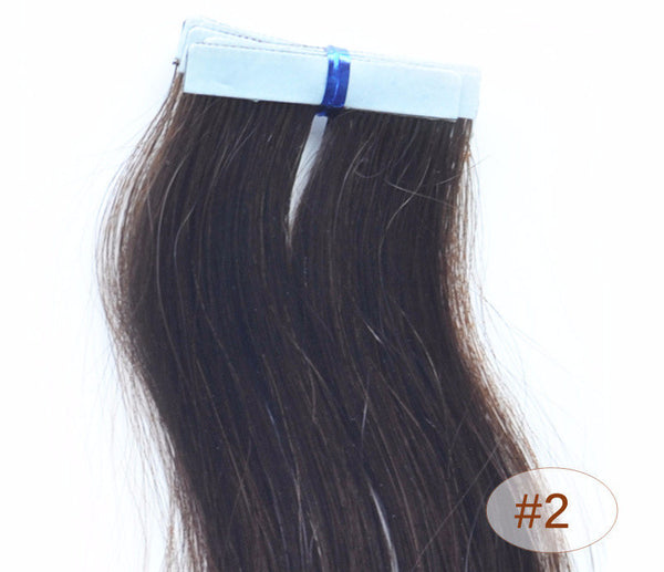 "ZOË 10pcs 25g 18""/24"" 100% Classy Remy Indian Human Hair Skin Weft Hair Extensions Double-Sided Tape Blue Liner Seamless Invisible - ZOË Products Int'l. - 3"