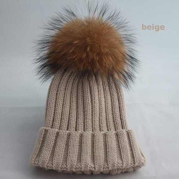 New Design! Real Raccoon Fur Pom Poms Beanie Hat Warm Winter Wool Knitted Bobble Hats for Men or Women - ZOË Products Int'l. - 13
