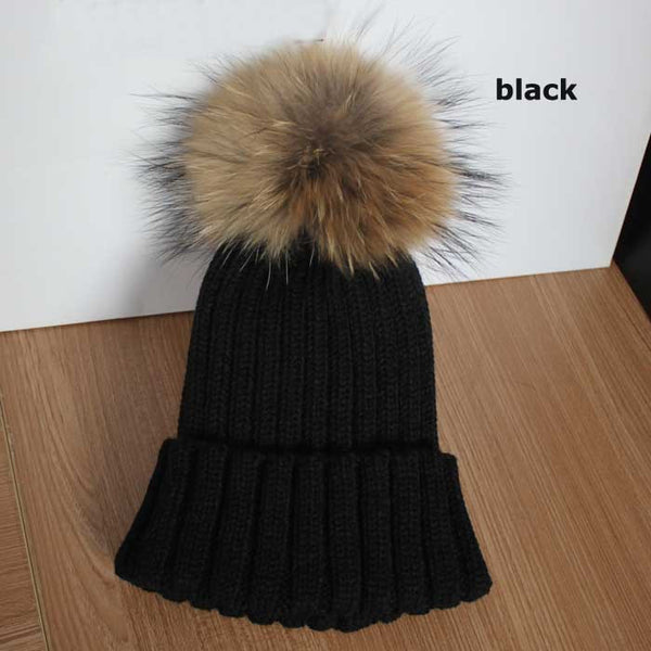 New Design! Real Raccoon Fur Pom Poms Beanie Hat Warm Winter Wool Knitted Bobble Hats for Men or Women - ZOË Products Int'l. - 9