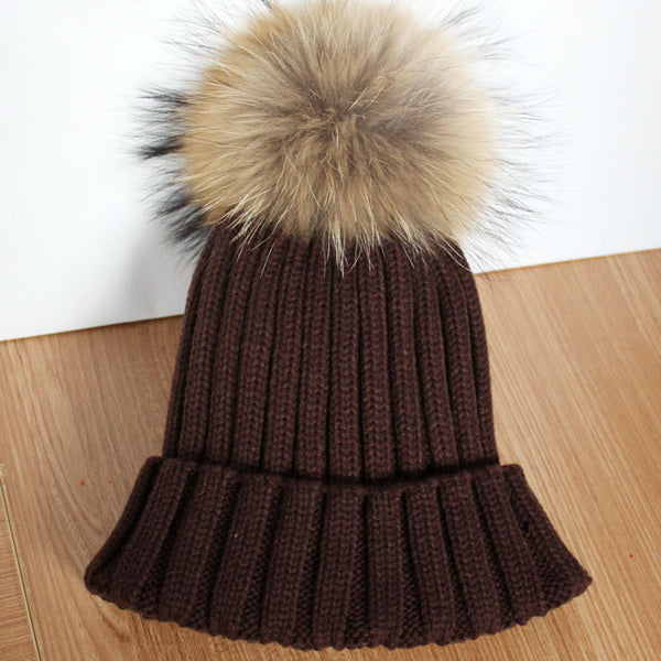 New Design! Real Raccoon Fur Pom Poms Beanie Hat Warm Winter Wool Knitted Bobble Hats for Men or Women - ZOË Products Int'l. - 18