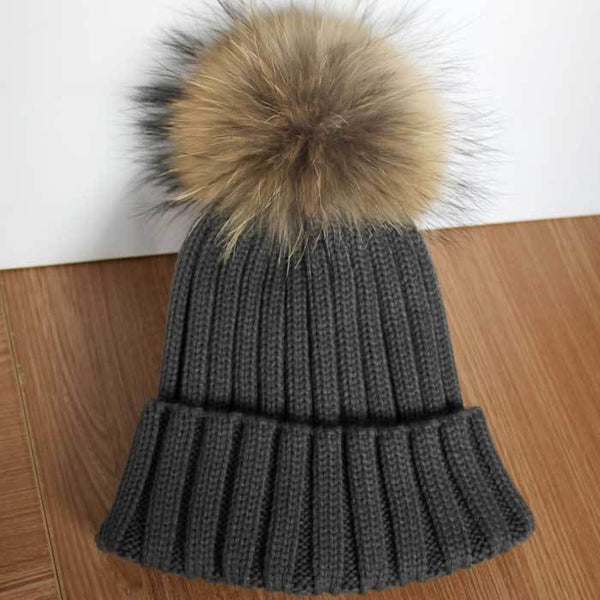 New Design! Real Raccoon Fur Pom Poms Beanie Hat Warm Winter Wool Knitted Bobble Hats for Men or Women - ZOË Products Int'l. - 16